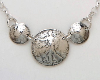 Silver Necklace made from 3 Vintage American Silver Lady Liberty Coins