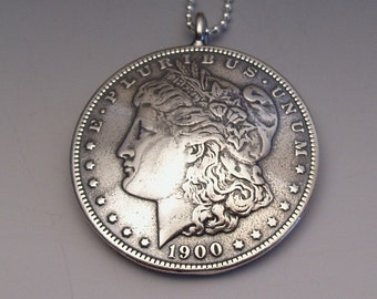 Silver Lady Dollar Pendant made from US Morgan Dollar Coin
