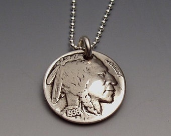 Indian Nickel Pendant Made from Vintage US Coin