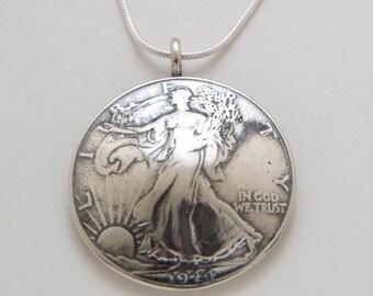 Walking Liberty Silver Half Dollar Pendant