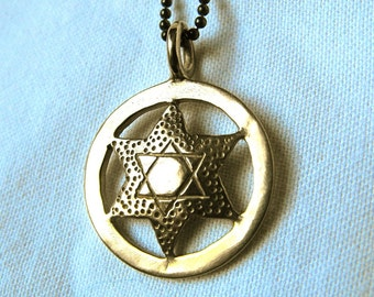 14k Gold Star of David Pendant made from Silver US Liberty Quarter Coin Original
