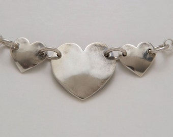 Dimes Silver Hearts Necklace made from 3 Vintage American Silver Coins