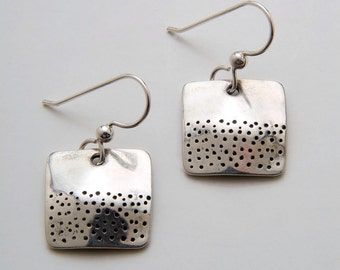 Silver Square Dot Earrings made from Vintage US Silver Standing Liberty Quarters