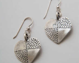 Silver Heart Dot Earrings made from Vintage US Silver Standing Liberty Quarters