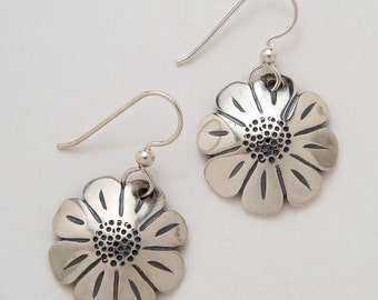 Silver Daisy Earrings made from Vintage US Silver Standing Liberty Quarters