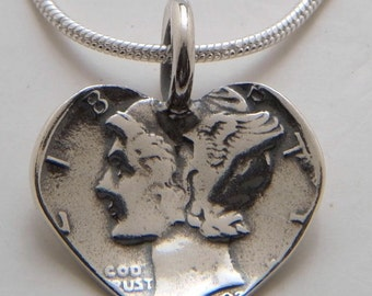 Silver Heart Pendant Made from Vintage US Silver Mercury Dime Coin
