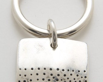 Silver Square Dot Keyring made From Vintage American Half Dollar Coin