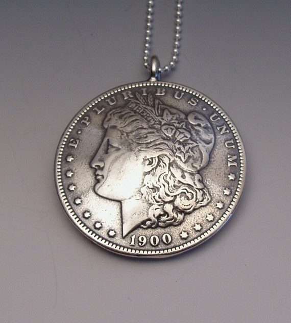 Silver lady dollar pendant made from us morgan dollar coin mozeypictures Choice Image