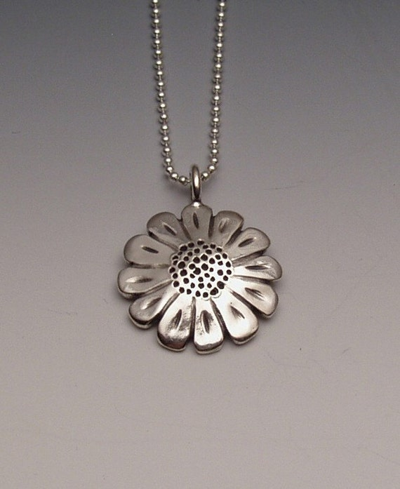Sunflower Quarter Pendant made from Vintage Silver US Quarter Coin