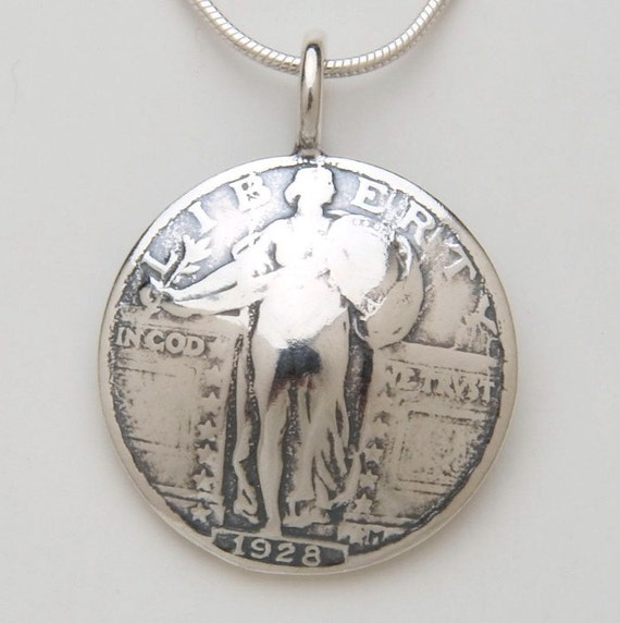 Silver Lady Liberty Pendant made from Vintage Quarter Coin