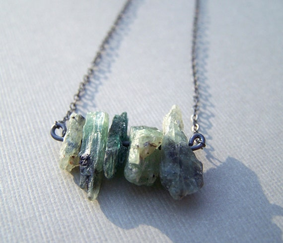 Raw Green Tourmaline Necklace, Raw Crystal Pendant, Oxidized Silver Crystal Necklace