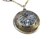 Steampunk Necklace - Vintage Locket  and Ruby Jeweled Vintage Swiss Watch Movement
