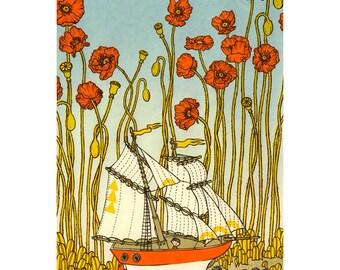 Sailing through poppies Silkscreen matted (ship)