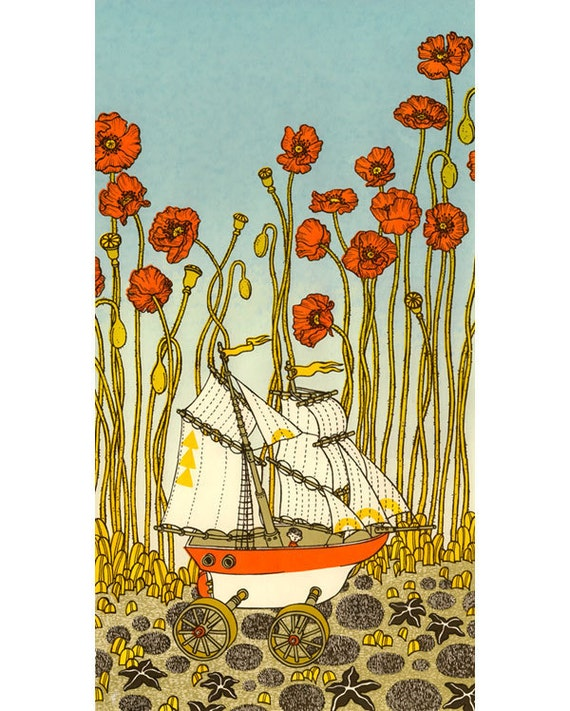 Sailing through poppies Silkscreen matted (ship)