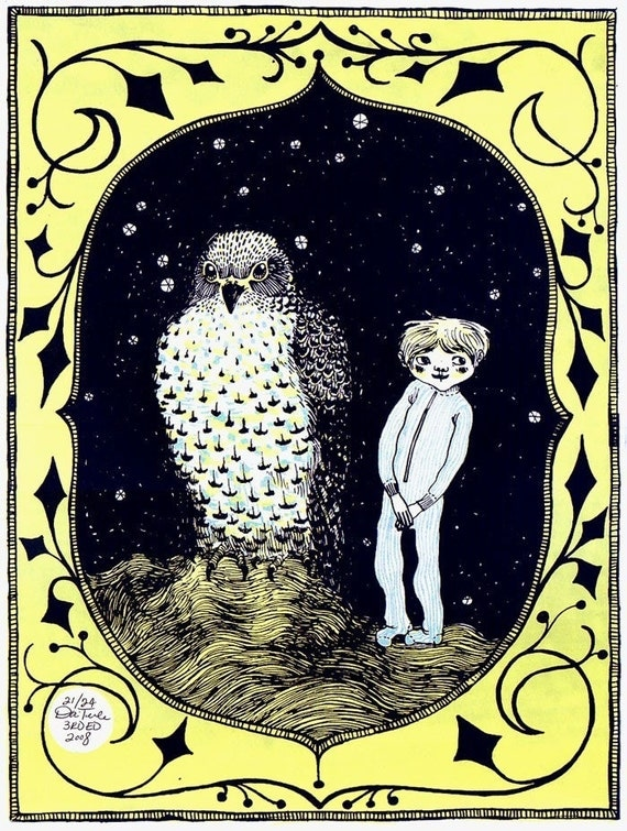 the boy and the giant hawk silkscreen