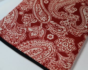 "Water Resistant 15"" MacBook Pro, 15"" Retina Display, Asus, Dell, HP, Custom sizes, 14"", 17"" Laptop Sleeve Case Cover - Padded - Red Paisley"