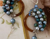Peacock Feathers -Vintage Assemblage Earrings