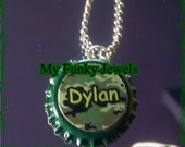 Custom BOYS Camo NAME Bottle Cap Necklace Ball Chain