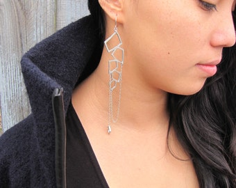 Long Grecian Earrings - Dangle Earrings in Sterling Silver and White Metal Handmade by Queens Metal