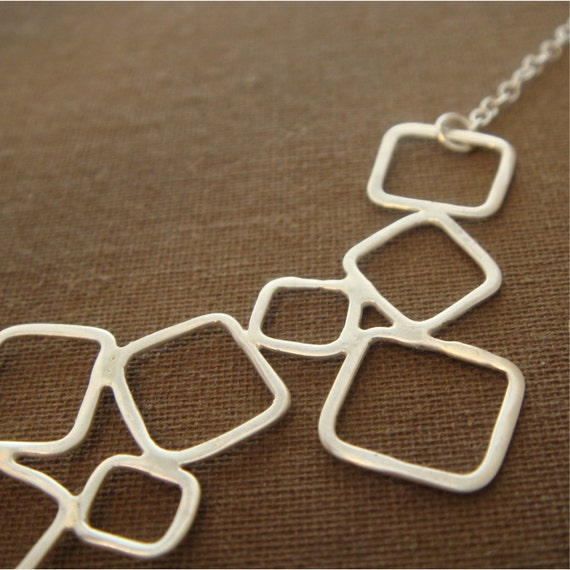 FREE SHIPPING -  Mina Necklace - Delicate Sterling Silver Squares
