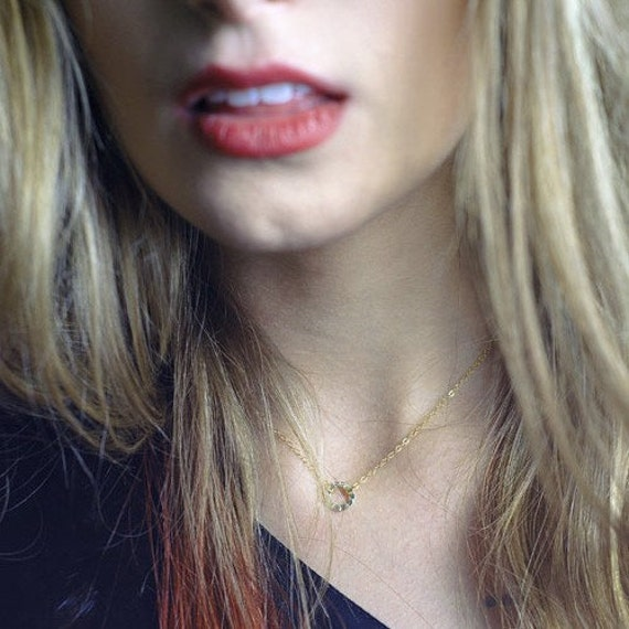 Mia Necklace - A Simple Circle Choker in Gold Fill Tiny Delicate Necklace Handmade by Queens Metal