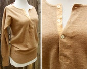 SALE English Wool Thermal Vintage 1940's 50's Soft Brown Wool Shirt by Morley