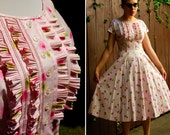 ROSE GARDEN Vintage 1950's Light Pink Floral Dress with Crisp Ruffles and Full Skirt by Betty Barclay