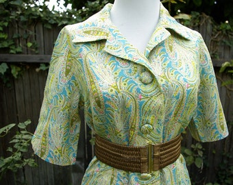 Vintage 1960's Psychedelic Paisley Dress Medium