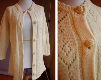 FRESH Buttercream 1950's 60's Vintage Cream White WOOL Knit Cardigan Sweater // by PENROSE // size Small Med