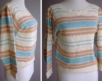 SANDY 1970's Vintage Striped Silk + Angora Sweater in Cream Brown and Light Blue // by HEIDI // size Medium