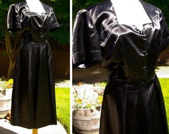 Linda Lee 1940's WWII Long Vintage Shiny Black Satin Dress