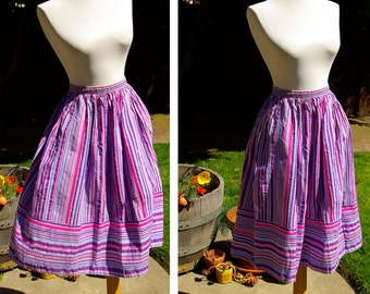 SUMMER Stripes 1950's 60's Vintage Purple Pink and Blue Striped Cotton Skirt size Small