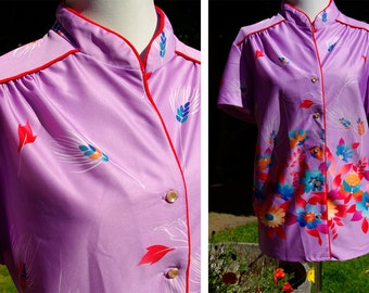 Vintage Bright Lilac and Red 1970's 80's Blouse with Flowers