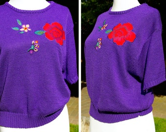 Vintage 1970's 80's Bright Violet Purple Sweater with Red Hibiscus Flower