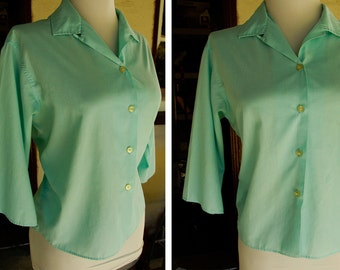 Robin's Egg Blue 1950's 60's Vintage Button Down Blouse with Half Sleeves