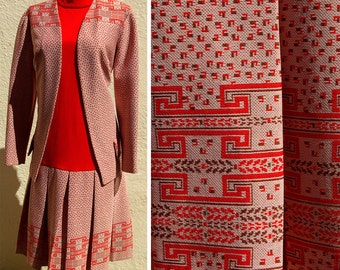 Mystery Machine 1960's 70's Psychedelic Orange and Brown Polyester Dress and Jacket Set