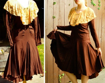 Hotsy Totsy 1920's 30's Vintage Art Deco Chocolate Brown Silk Dress with Orange Pleated Lace Collar
