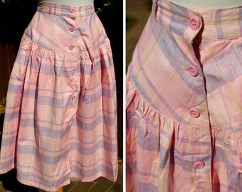 SANTA CRUZ 1970's 80's Vintage Baby Pink and Purple Plaid Button Down Skirt