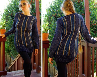 SUPER 70's Sexy Vintage Knit Navy Blue Striped Sweater Dress by FADED GLORY size M