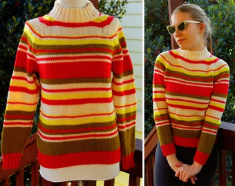 CANDY STRIPED 1960's Vintage Wool Sweater in Cream Yellow and Bright Pink size 38
