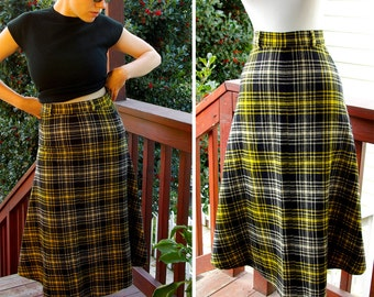 Bumble Bee 1950's 60's Vintage Black and Yellow Plaid Wool Skirt size X Small