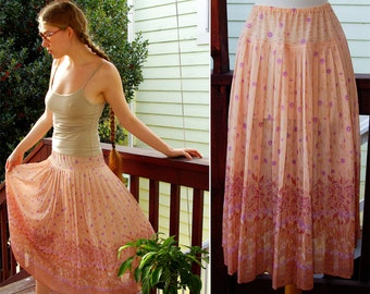 CALIFORNIA Girl 1970's 80's Vintage Sheer Beige Light Tan Pink Skirt with purple Flowers and Leaves