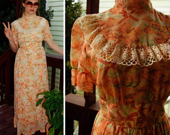 HOLLAND 1960's 70's Vintage Peach Long Maxi Prairie Dress with Puffed Sleeves + Lace // size XS Small // Dutch Windmill // Made in CA