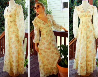 WILD FLOWERS 1960's 70's Vintage Antique White Prairie Maxi Dress with Lace and Roses size XS
