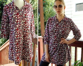 VICTORY Garden 1960's 70's Vintage Floral Red White and Navy Blue Dress size Small Medium