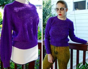 BUTTERFLIES 1980's Vintage Bright Purple Metallic Knit Sweater by CECILY ESPRIT Medium