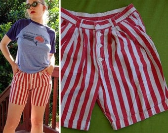 Parisian STRIPES 1980's 90's Vintage French Red and White Striped Shorts // by MATH // size XS Small