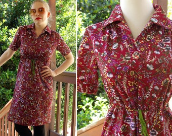 CABERNET 1970's Vintage Burgundy Maroon Polyester Shirt Dress with Purple Flowers size Medium