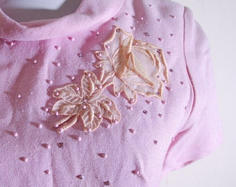 ROSE Petals 1950's 60's Vintage Baby Pink Beaded Shift Dress with Rhinestones // size Small // Madmen