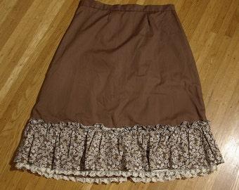 "PRAIRIE 1960's 70's Vintage Chocolate Brown Floral Ruffled Skirt // size Small // Waist 26"" 27"" // Handmade"